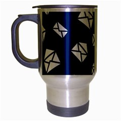 Envelope Letter Sand Blue White Masage Travel Mug (silver Gray) by Alisyart