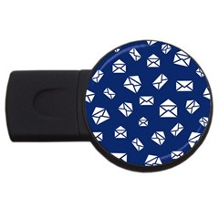 Envelope Letter Sand Blue White Masage Usb Flash Drive Round (4 Gb)