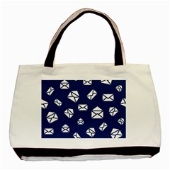 Envelope Letter Sand Blue White Masage Basic Tote Bag by Alisyart