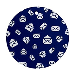 Envelope Letter Sand Blue White Masage Round Ornament (two Sides)