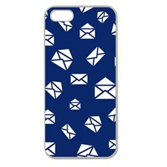 Envelope Letter Sand Blue White Masage Apple Seamless Iphone 5 Case (clear)