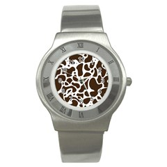 Dalmantion Skin Cow Brown White Stainless Steel Watch by Alisyart