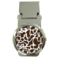Dalmantion Skin Cow Brown White Money Clip Watches