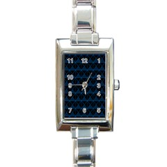 Colored Line Light Triangle Plaid Blue Black Rectangle Italian Charm Watch by Alisyart