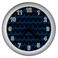 Colored Line Light Triangle Plaid Blue Black Wall Clocks (silver)  by Alisyart