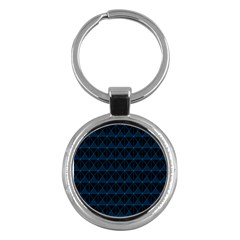 Colored Line Light Triangle Plaid Blue Black Key Chains (round)  by Alisyart