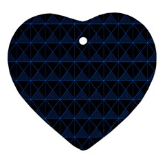 Colored Line Light Triangle Plaid Blue Black Heart Ornament (two Sides) by Alisyart