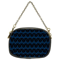 Colored Line Light Triangle Plaid Blue Black Chain Purses (one Side)  by Alisyart