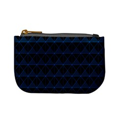 Colored Line Light Triangle Plaid Blue Black Mini Coin Purses