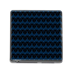 Colored Line Light Triangle Plaid Blue Black Memory Card Reader (square) by Alisyart