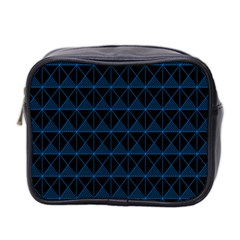 Colored Line Light Triangle Plaid Blue Black Mini Toiletries Bag 2 Side