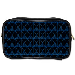 Colored Line Light Triangle Plaid Blue Black Toiletries Bags