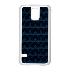 Colored Line Light Triangle Plaid Blue Black Samsung Galaxy S5 Case (white)