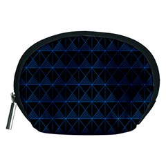 Colored Line Light Triangle Plaid Blue Black Accessory Pouches (medium)  by Alisyart