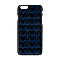 Colored Line Light Triangle Plaid Blue Black Apple Iphone 6/6s Black Enamel Case