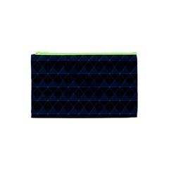 Colored Line Light Triangle Plaid Blue Black Cosmetic Bag (xs) by Alisyart