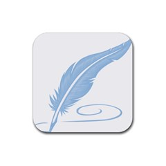 Feather Pen Blue Light Rubber Coaster (square)