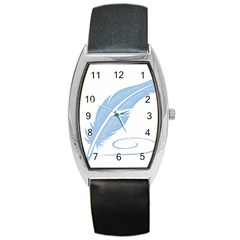 Feather Pen Blue Light Barrel Style Metal Watch