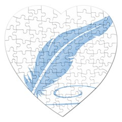 Feather Pen Blue Light Jigsaw Puzzle (heart) by Alisyart