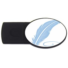 Feather Pen Blue Light Usb Flash Drive Oval (4 Gb) by Alisyart