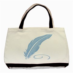 Feather Pen Blue Light Basic Tote Bag (two Sides) by Alisyart