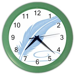 Feather Pen Blue Light Color Wall Clocks