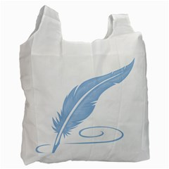 Feather Pen Blue Light Recycle Bag (two Side)  by Alisyart