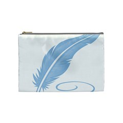 Feather Pen Blue Light Cosmetic Bag (medium)  by Alisyart