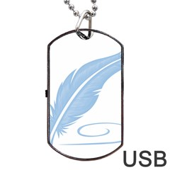 Feather Pen Blue Light Dog Tag Usb Flash (one Side)