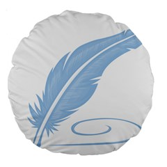 Feather Pen Blue Light Large 18  Premium Round Cushions