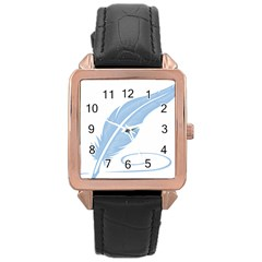 Feather Pen Blue Light Rose Gold Leather Watch