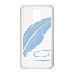 Feather Pen Blue Light Samsung Galaxy S5 Case (white)