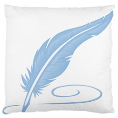 Feather Pen Blue Light Large Flano Cushion Case (one Side) by Alisyart