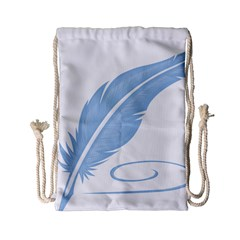 Feather Pen Blue Light Drawstring Bag (small) by Alisyart