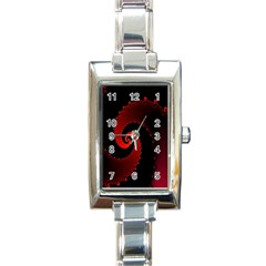 Red Fractal Spiral Rectangle Italian Charm Watch by Simbadda