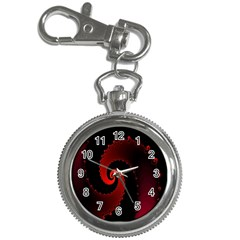 Red Fractal Spiral Key Chain Watches by Simbadda