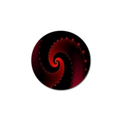 Red Fractal Spiral Golf Ball Marker by Simbadda