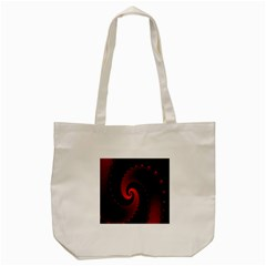 Red Fractal Spiral Tote Bag (cream) by Simbadda