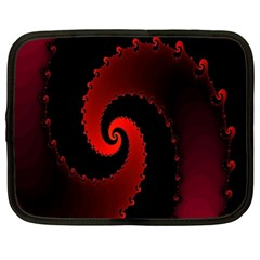 Red Fractal Spiral Netbook Case (xl)  by Simbadda