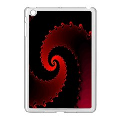 Red Fractal Spiral Apple Ipad Mini Case (white) by Simbadda