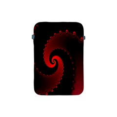 Red Fractal Spiral Apple Ipad Mini Protective Soft Cases by Simbadda