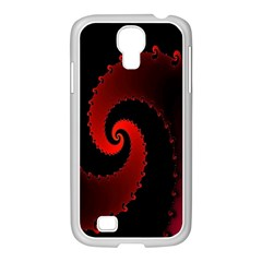 Red Fractal Spiral Samsung Galaxy S4 I9500/ I9505 Case (white) by Simbadda