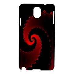 Red Fractal Spiral Samsung Galaxy Note 3 N9005 Hardshell Case by Simbadda