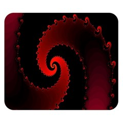 Red Fractal Spiral Double Sided Flano Blanket (small)  by Simbadda