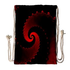 Red Fractal Spiral Drawstring Bag (large) by Simbadda