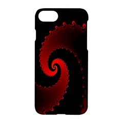 Red Fractal Spiral Apple Iphone 7 Hardshell Case by Simbadda