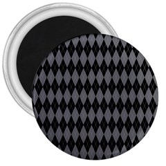 Chevron Wave Line Grey Black Triangle 3  Magnets by Alisyart