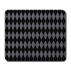 Chevron Wave Line Grey Black Triangle Large Mousepads by Alisyart