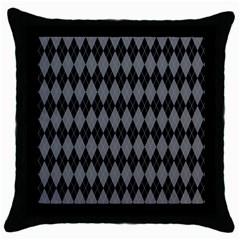 Chevron Wave Line Grey Black Triangle Throw Pillow Case (black) by Alisyart