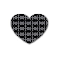 Chevron Wave Line Grey Black Triangle Heart Coaster (4 Pack)